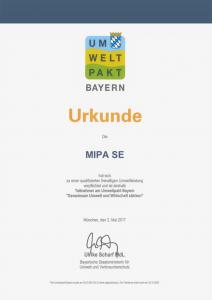 Urkunde Umweltpakt Bayern